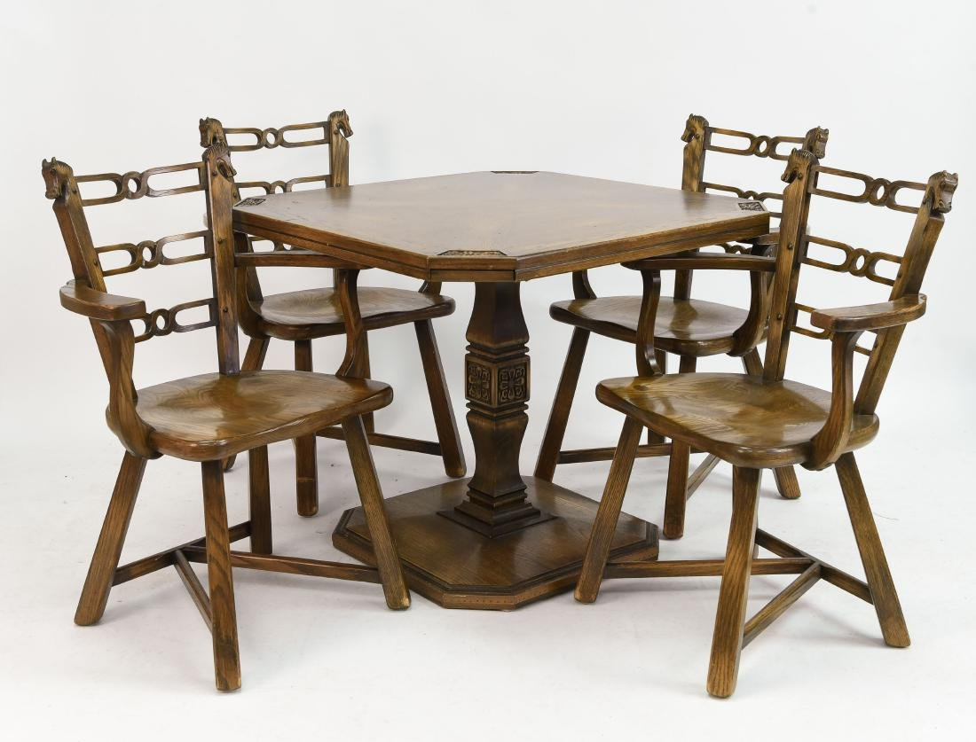 ROM WEBER/ VIKING OAK GAME TABLE AND CHAIRS