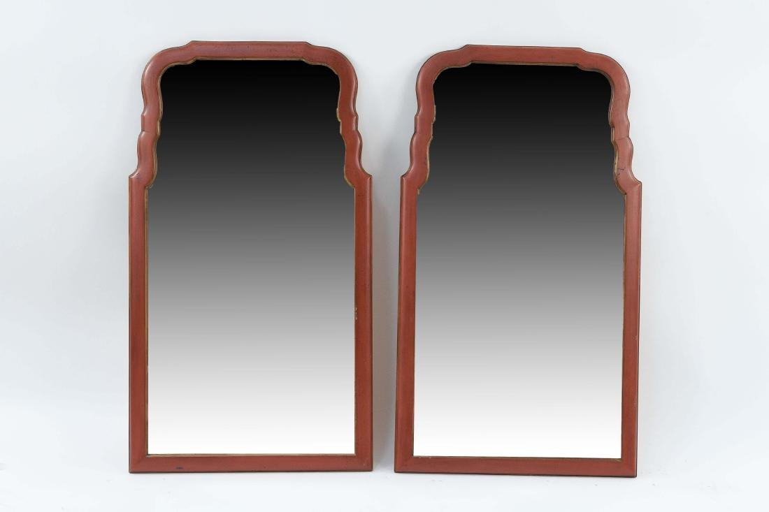 PAIR OF SHAPED AND BEVELED MID-CENTURY MIRRORS
