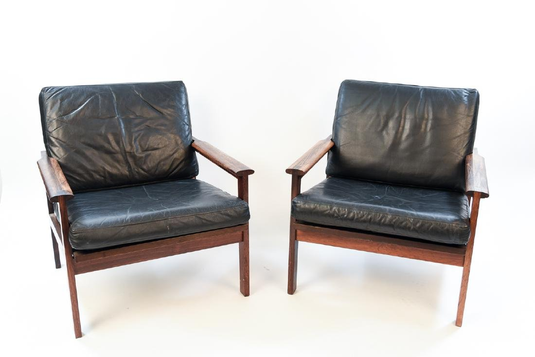 PAIR ILLUM WIKKELSO ROSEWOOD & LEATHER EASY CHAIRS