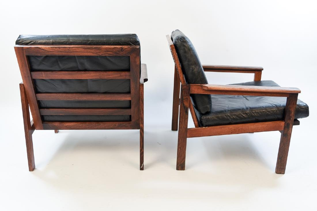 PAIR ILLUM WIKKELSO ROSEWOOD & LEATHER EASY CHAIRS - 8