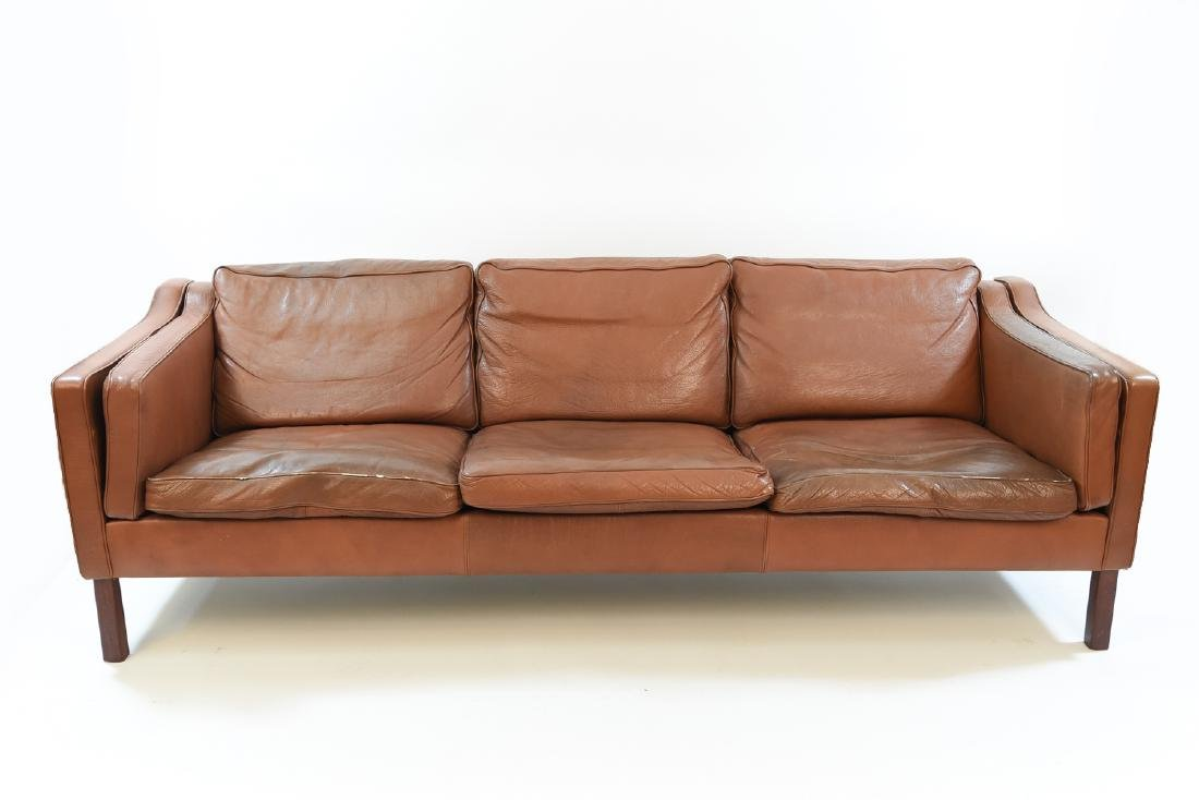 BORGE MOGENSEN STYLE LEATHER 3-SEAT SOFA
