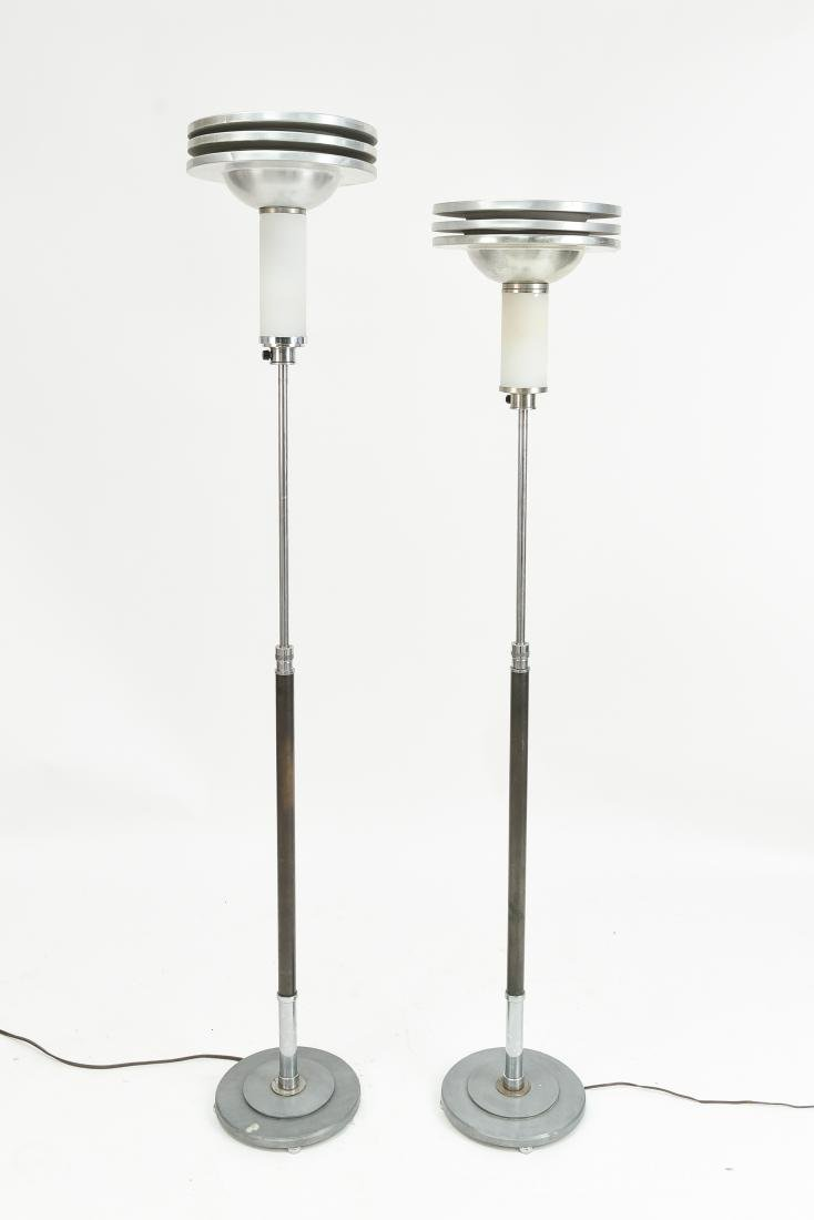 PAIR OF ART DECO MACHINE AGE FLOOR LAMPS