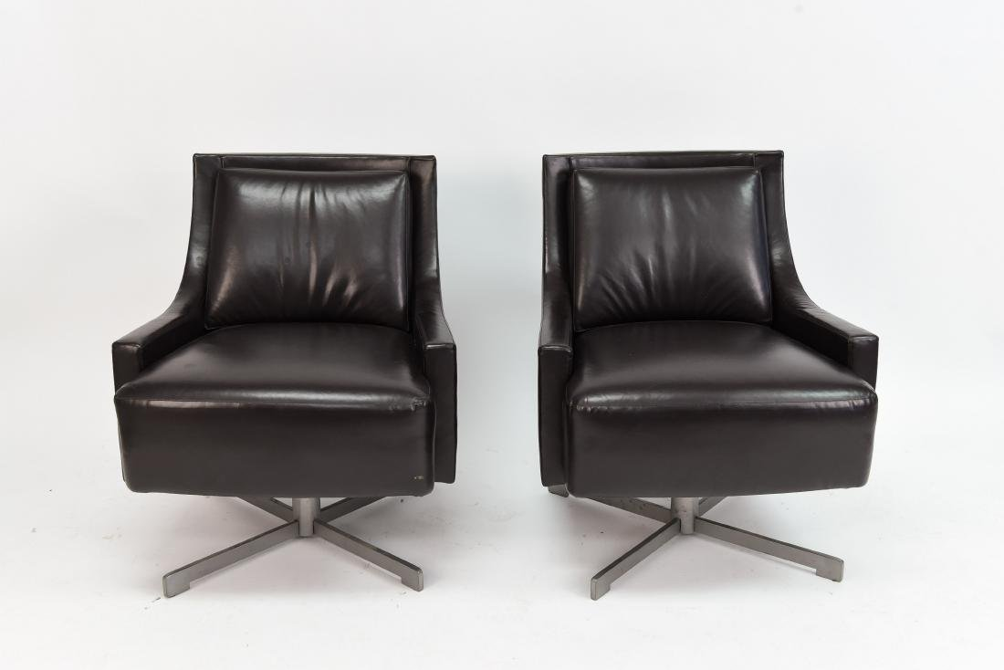 PAIR OF HBF LEATHER SWIVEL LOUNGE CHAIRS