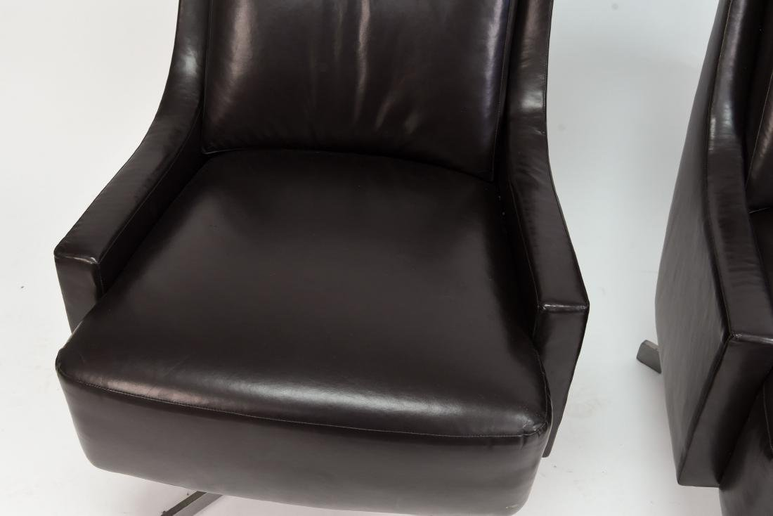 PAIR OF HBF LEATHER SWIVEL LOUNGE CHAIRS - 2