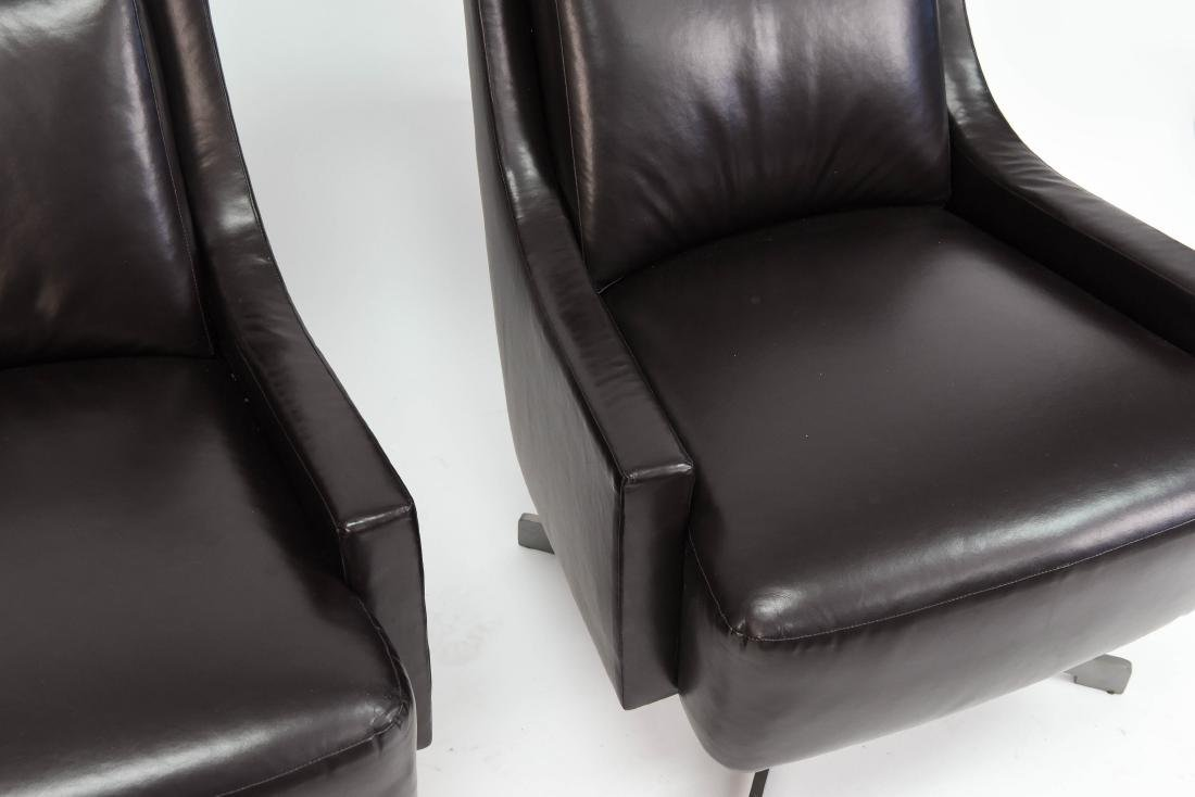 PAIR OF HBF LEATHER SWIVEL LOUNGE CHAIRS - 4