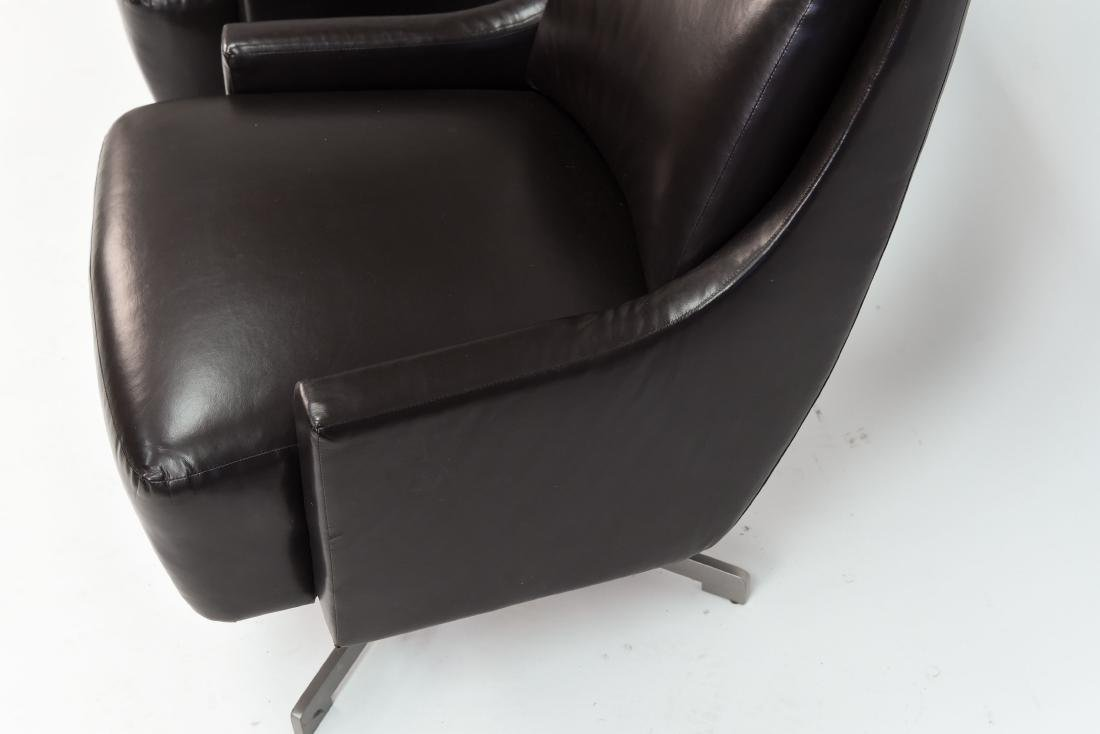 PAIR OF HBF LEATHER SWIVEL LOUNGE CHAIRS - 6