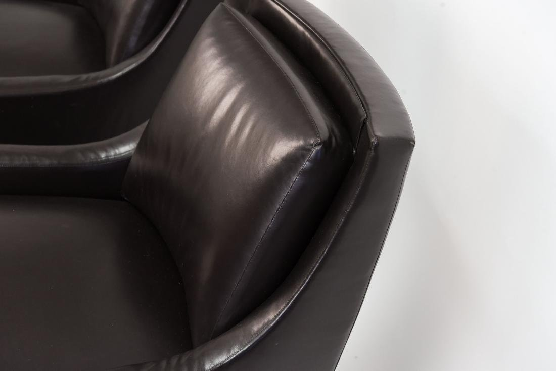 PAIR OF HBF LEATHER SWIVEL LOUNGE CHAIRS - 7