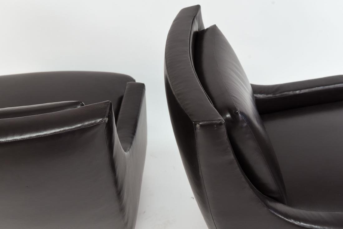 PAIR OF HBF LEATHER SWIVEL LOUNGE CHAIRS - 9