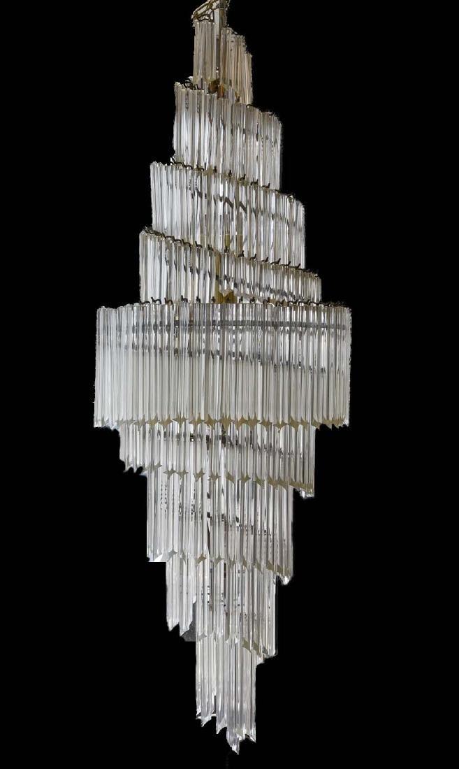 LARGE CAMER SPIRAL GLASS CHANDELIER