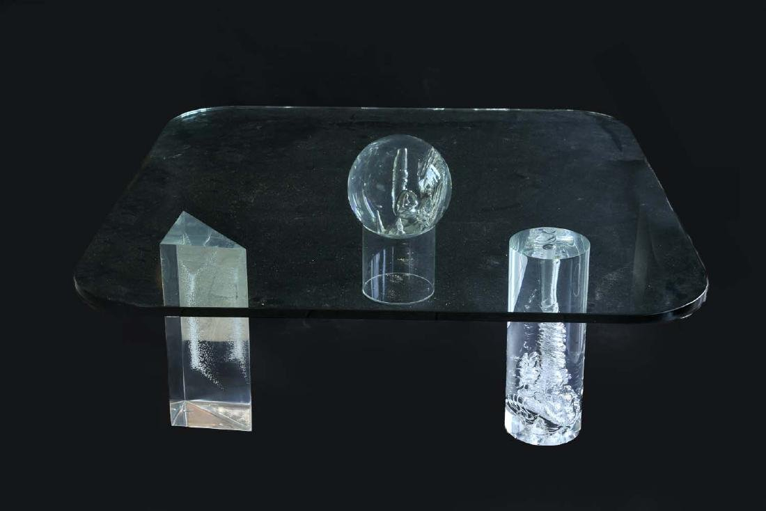 LUCITE GEOMETRIC SHAPE COFFEE TABLE