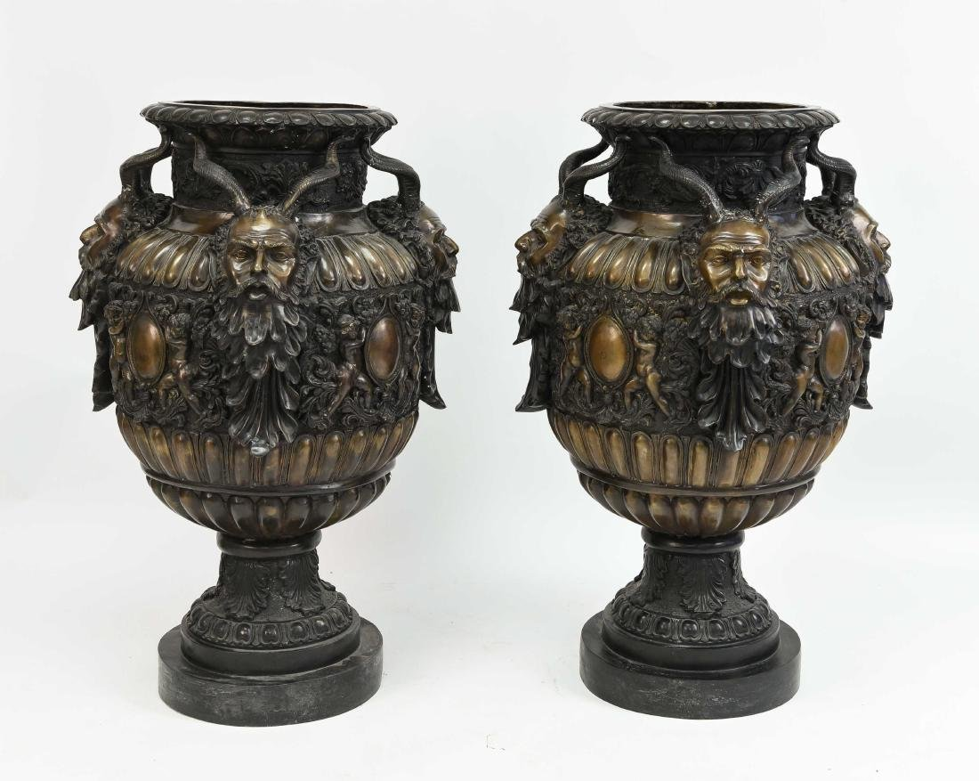 PAIR OF 20TH C. LARGE BRONZE URNS