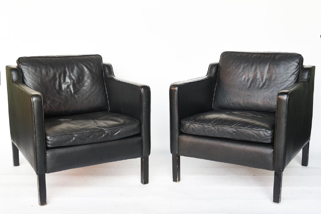 STOUBY BORGE MOGENSEN STYLE LEATHER CHAIRS