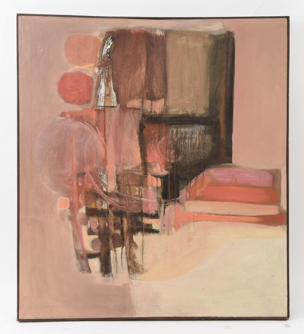 MID-CENTURY ABSTRACT OIL ON CANVAS PAINTING