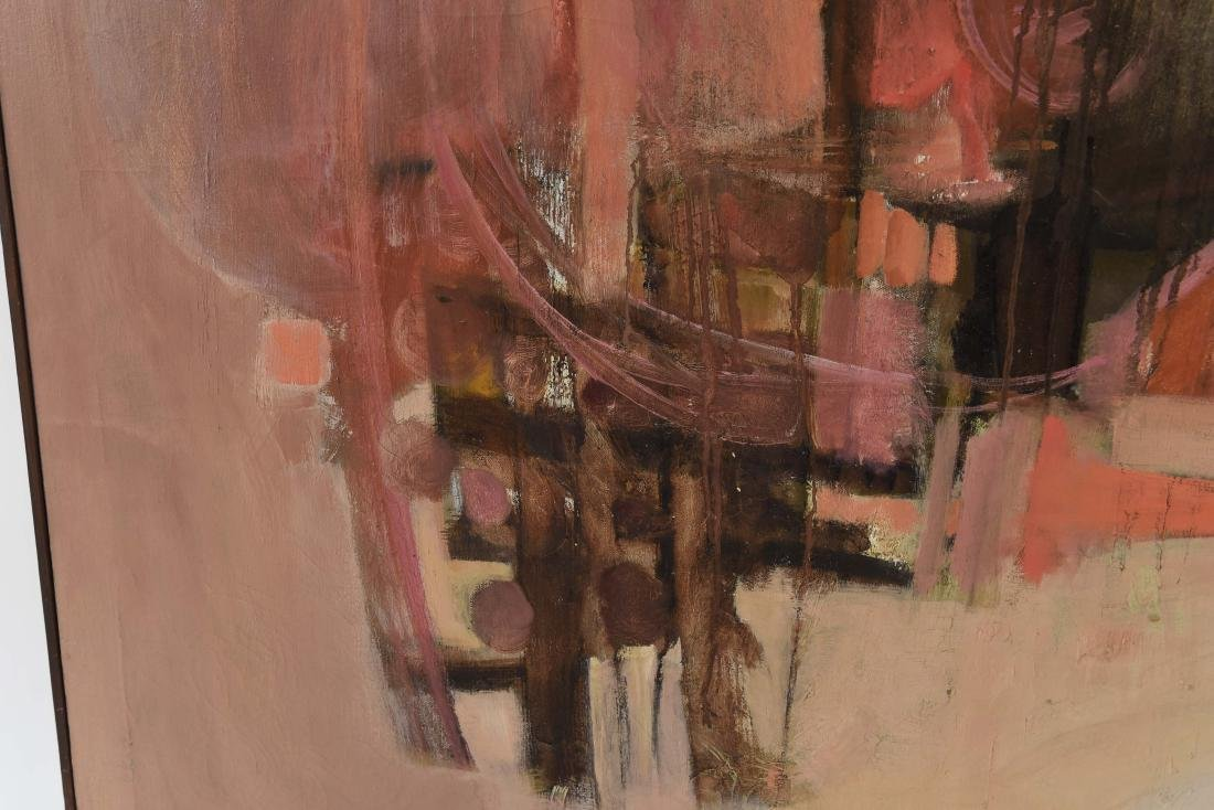 MID-CENTURY ABSTRACT OIL ON CANVAS PAINTING - 5