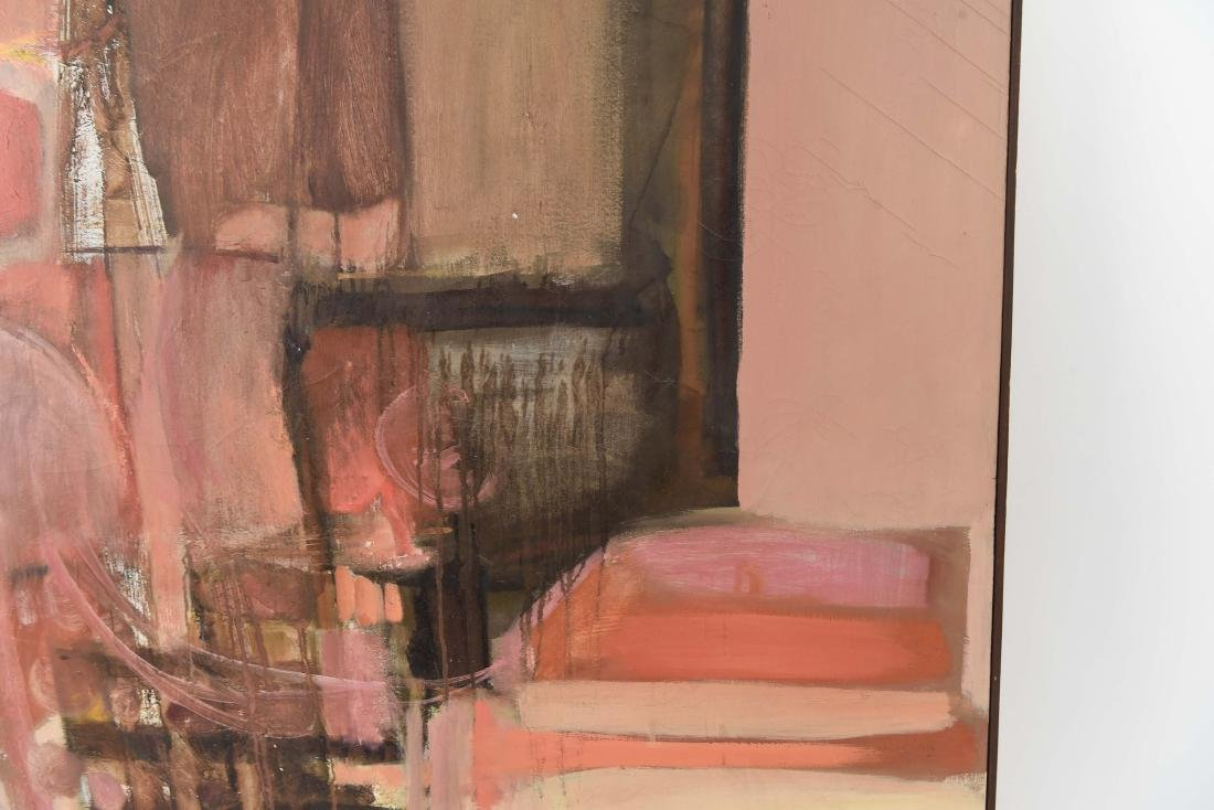 MID-CENTURY ABSTRACT OIL ON CANVAS PAINTING - 8
