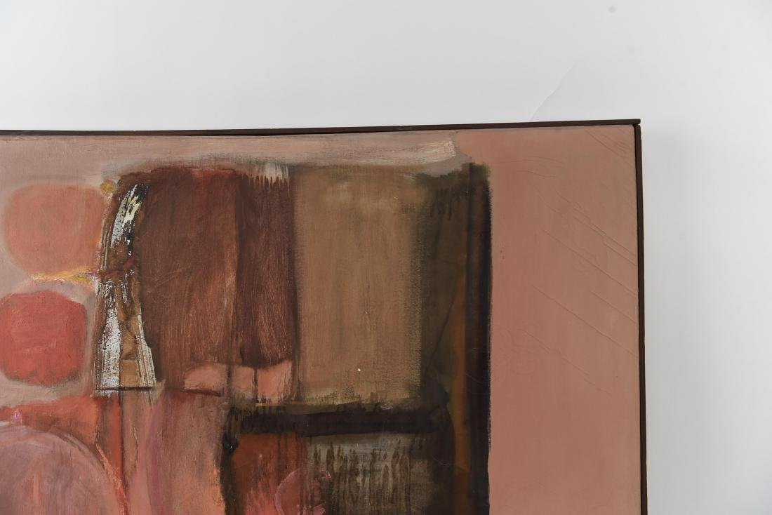 MID-CENTURY ABSTRACT OIL ON CANVAS PAINTING - 9