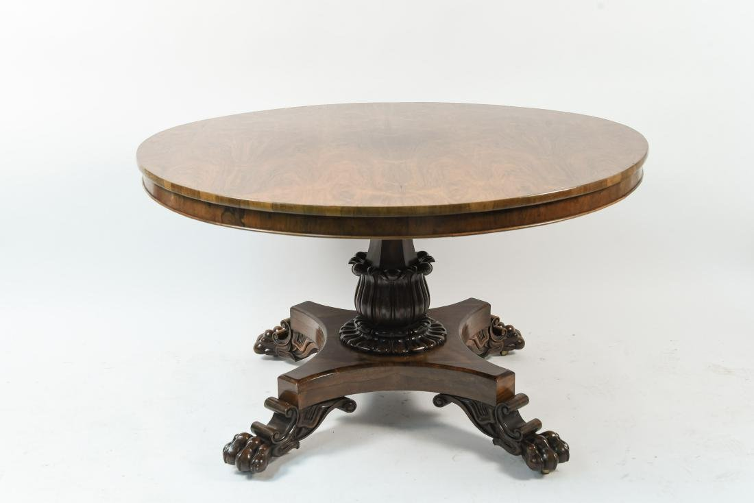 ANTIQUE REGENCY ROSEWOOD BURL DINING TABLE