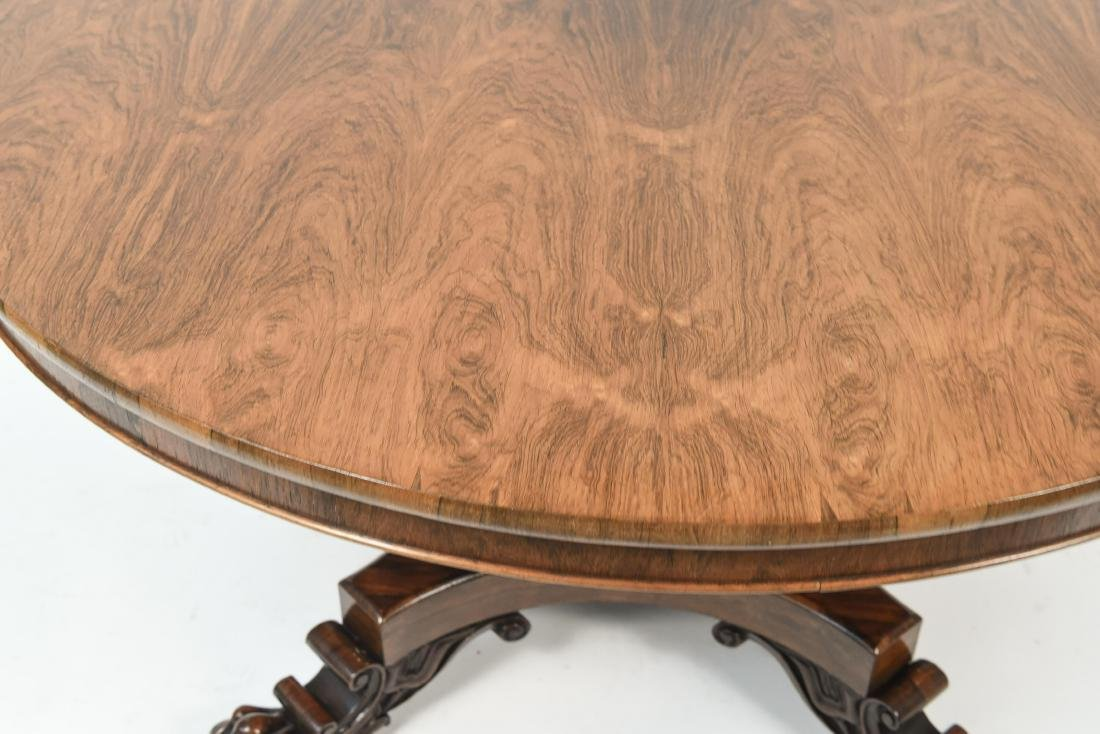 ANTIQUE REGENCY ROSEWOOD BURL DINING TABLE - 3
