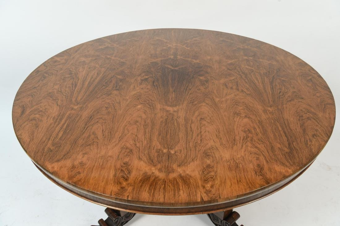 ANTIQUE REGENCY ROSEWOOD BURL DINING TABLE - 4