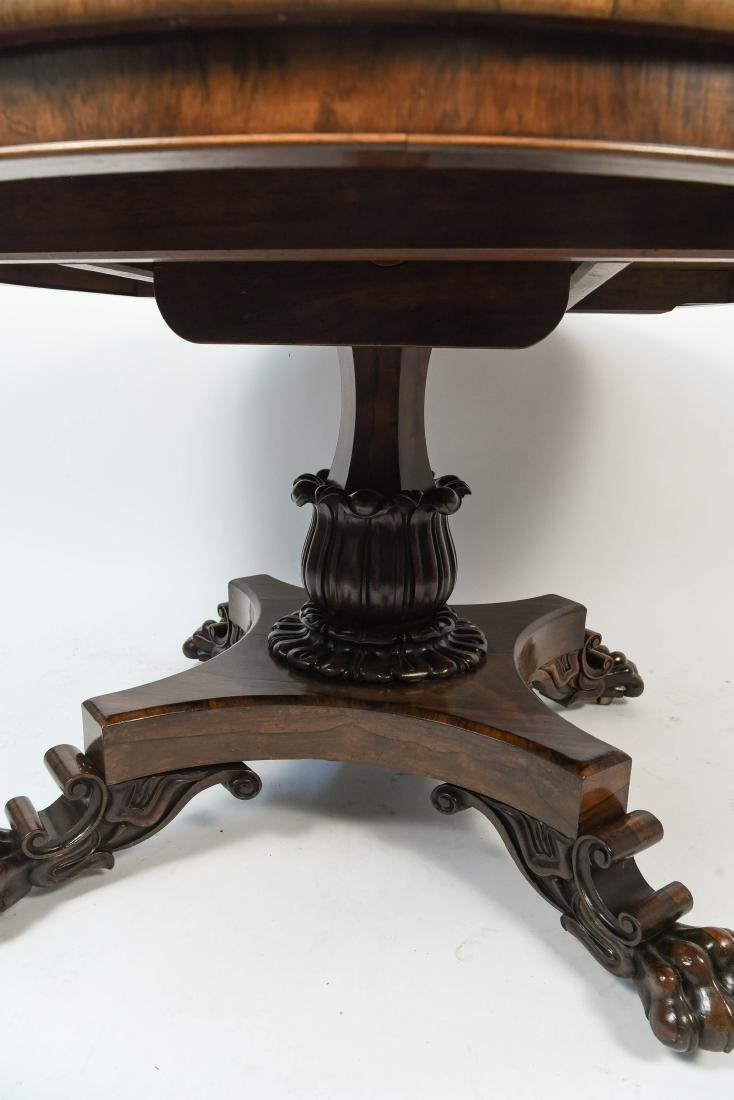 ANTIQUE REGENCY ROSEWOOD BURL DINING TABLE - 8