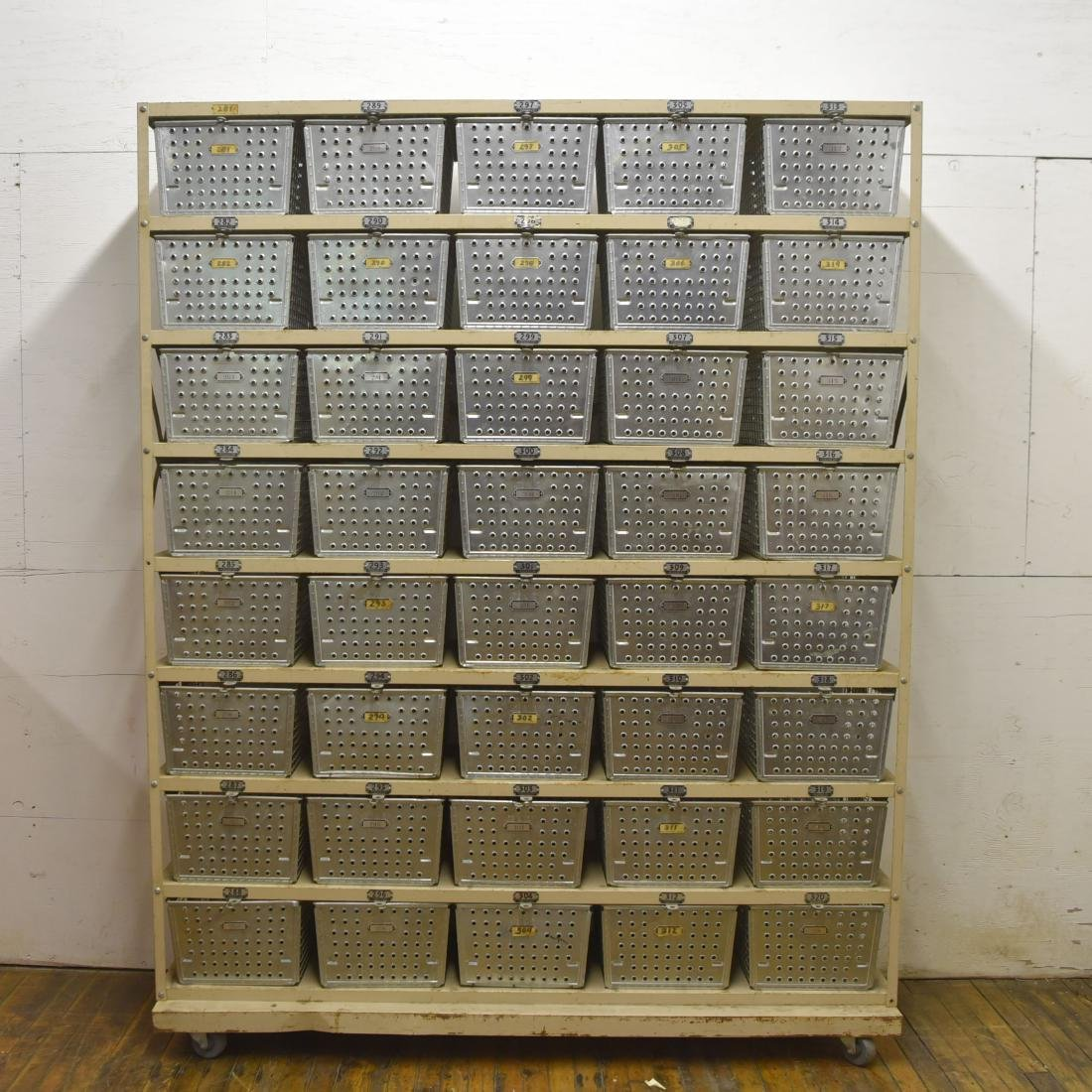 INDUSTRIAL SHELVING WITH WIRE BASKETS