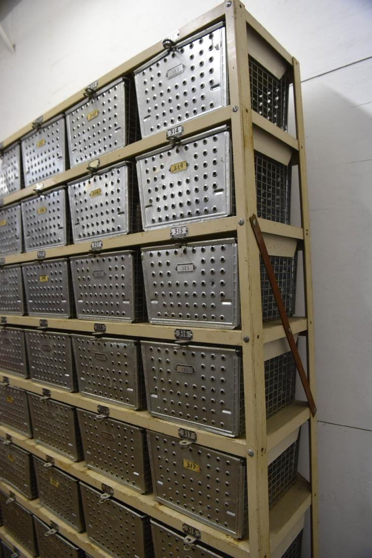 INDUSTRIAL SHELVING WITH WIRE BASKETS - 6