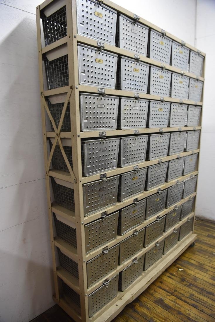 INDUSTRIAL SHELVING WITH WIRE BASKETS - 8