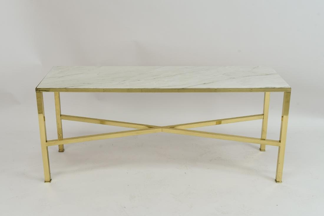 MANNER OF PAUL MCCOBB MARBLE AND BRASS TABLE