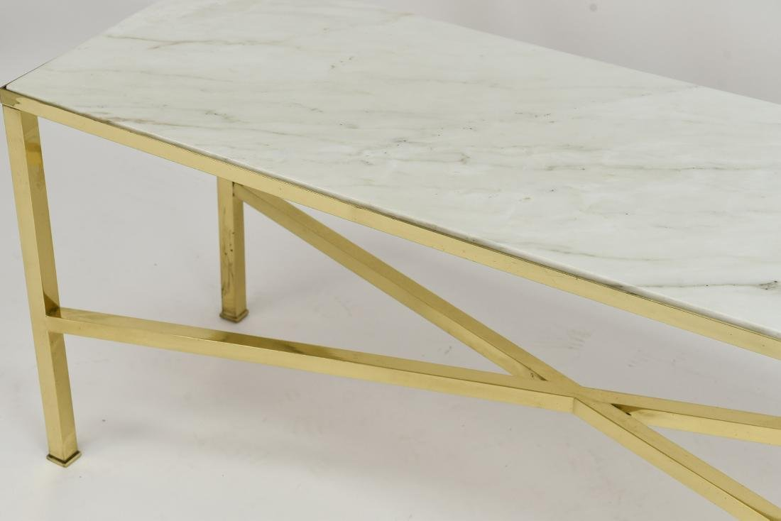 MANNER OF PAUL MCCOBB MARBLE AND BRASS TABLE - 5