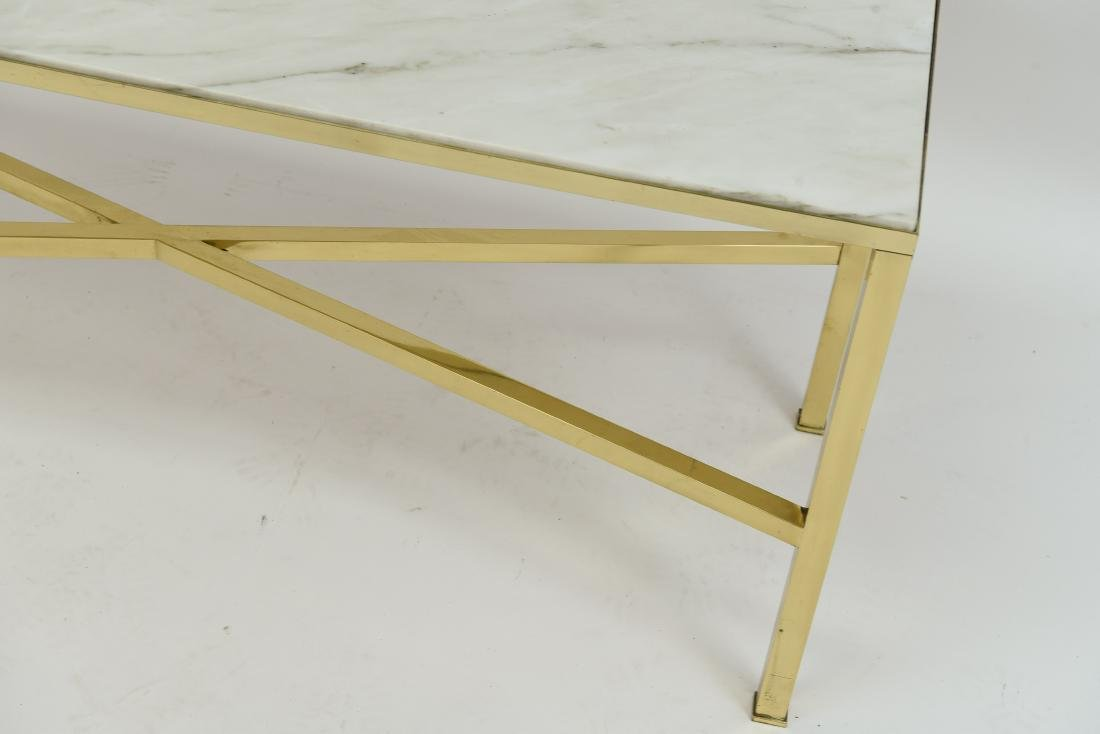 MANNER OF PAUL MCCOBB MARBLE AND BRASS TABLE - 7
