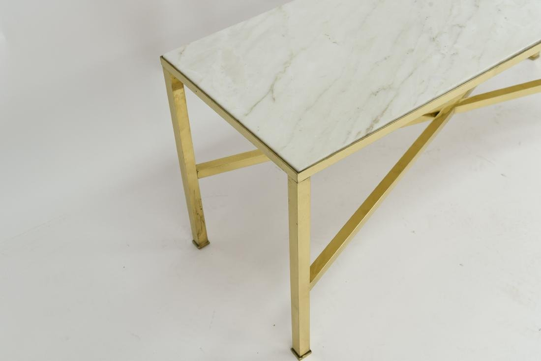 MANNER OF PAUL MCCOBB MARBLE AND BRASS TABLE - 9