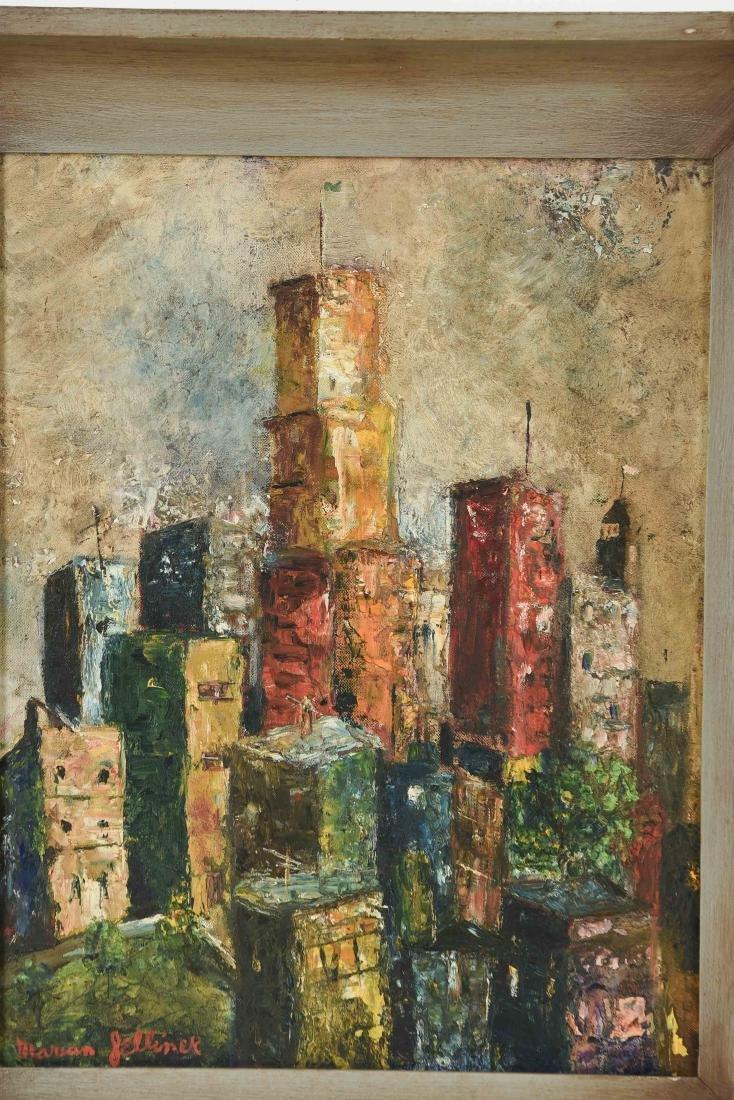 MID-CENTURY MARIAN JELLINEK CITYSCAPE PAINTING - 2