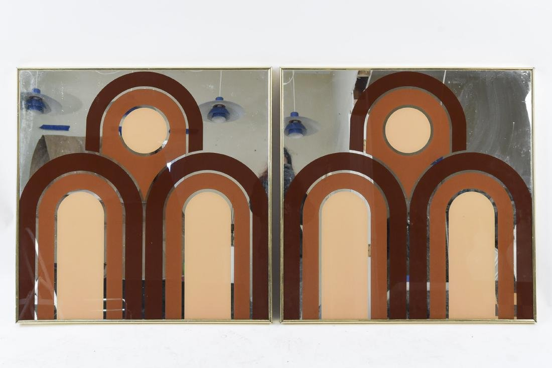 PAIR OF MIRRORED WALL ART DECORATIONS