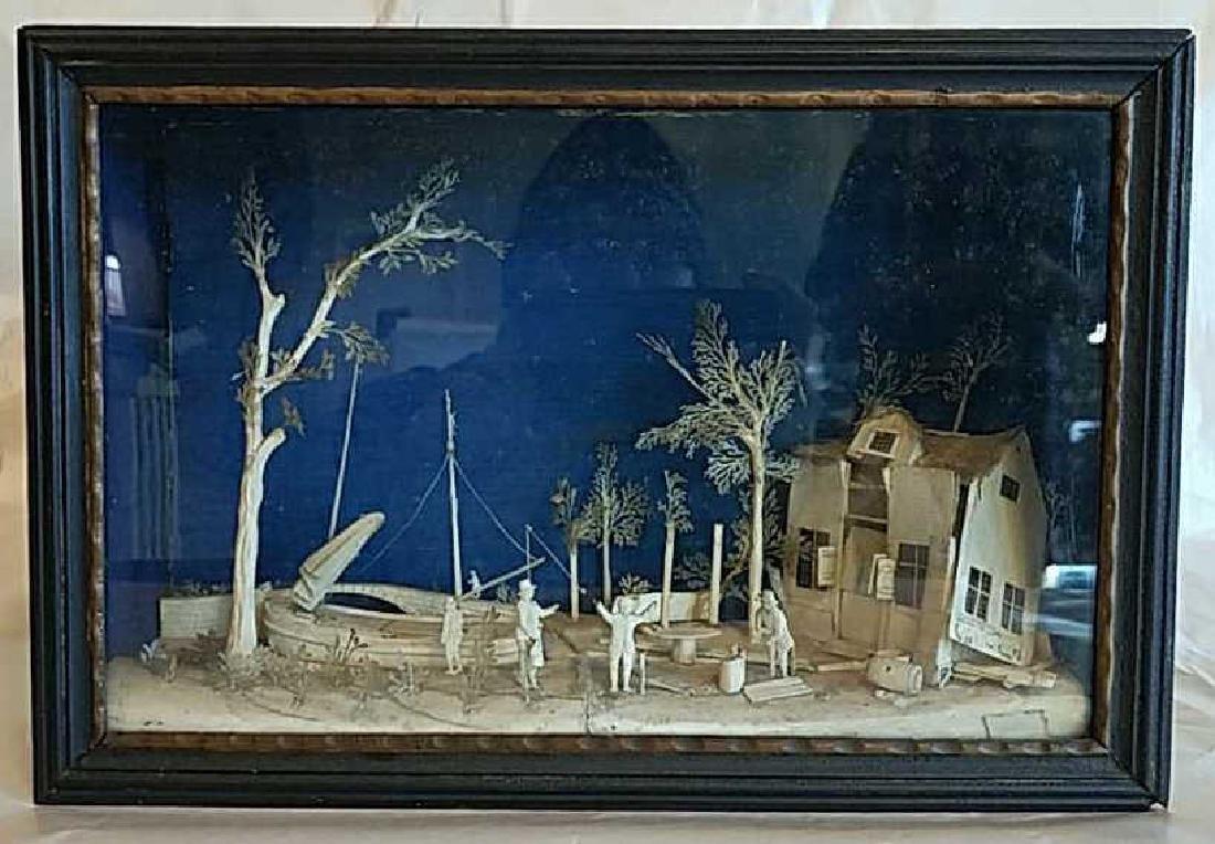 19TH C. CARVED BONE SHADOW BOX DIORAMA