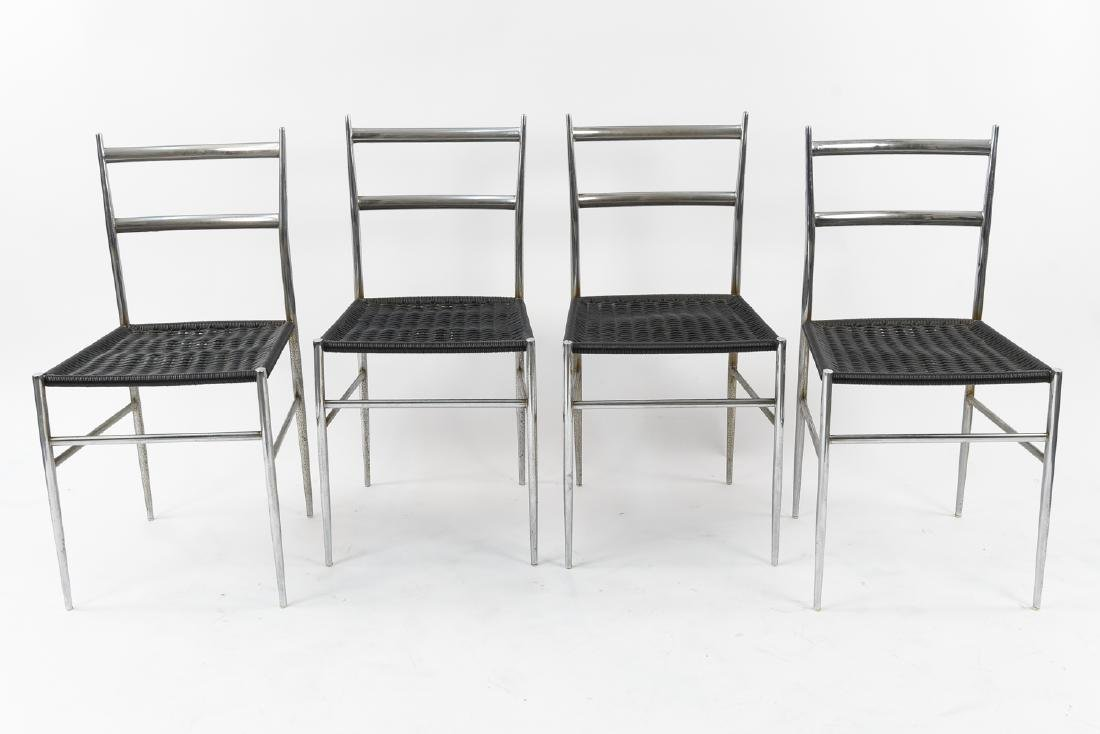 (4) ITALIAN CHROME CHAIRS WITH WOVEN SEATS