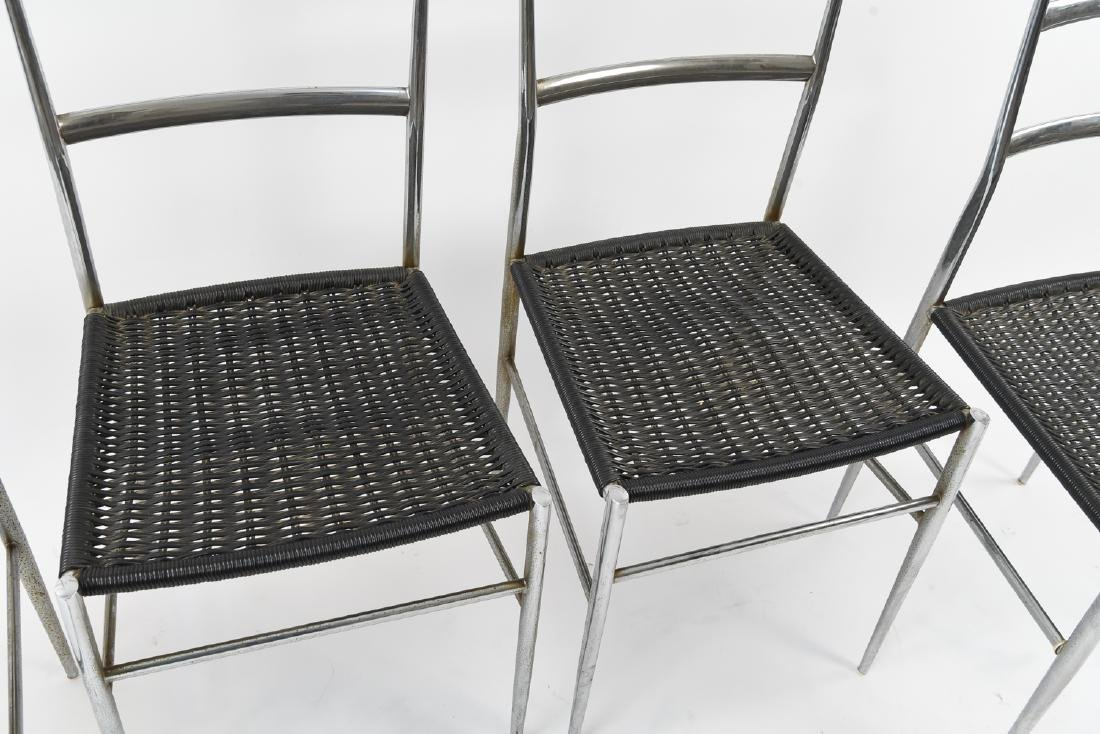 (4) ITALIAN CHROME CHAIRS WITH WOVEN SEATS - 4