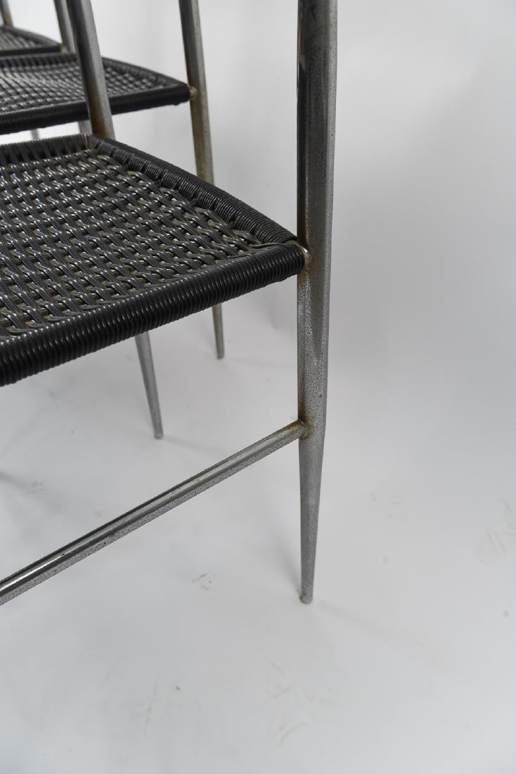 (4) ITALIAN CHROME CHAIRS WITH WOVEN SEATS - 9