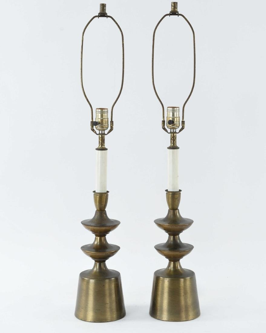 PAIR OF BRASS SCULPTURAL LAMPS