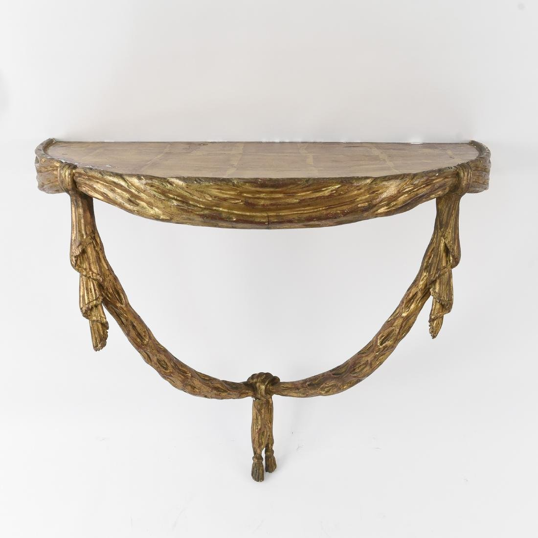 CARVED GILTWOOD SWAG WALL MOUNT CONSOLE