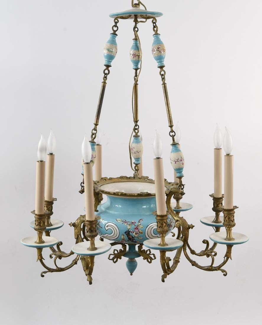 LONGWY STYLE FRENCH CERAMIC CHANDELIER