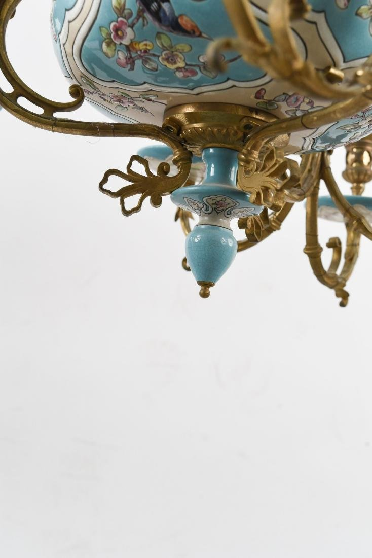 LONGWY STYLE FRENCH CERAMIC CHANDELIER - 5