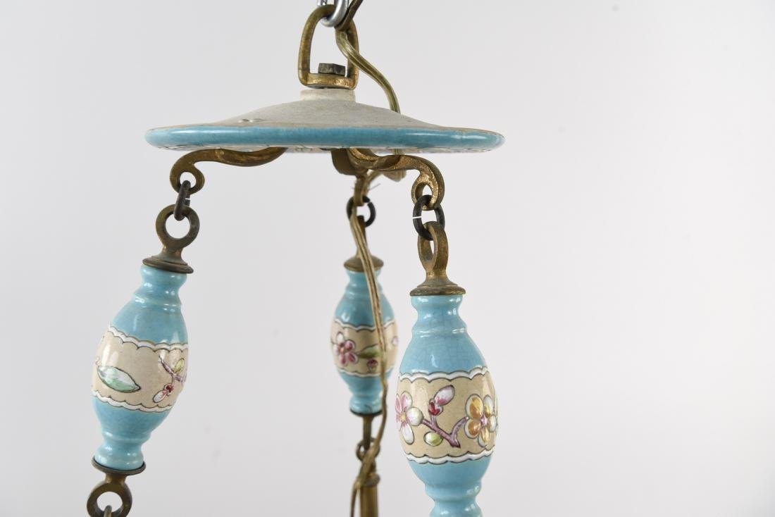 LONGWY STYLE FRENCH CERAMIC CHANDELIER - 9