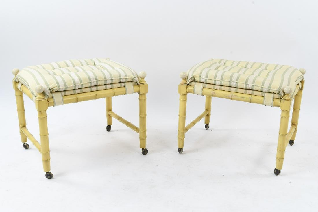 FAUX BAMBOO UPHOLSTERED STOOLS / OTTOMANS