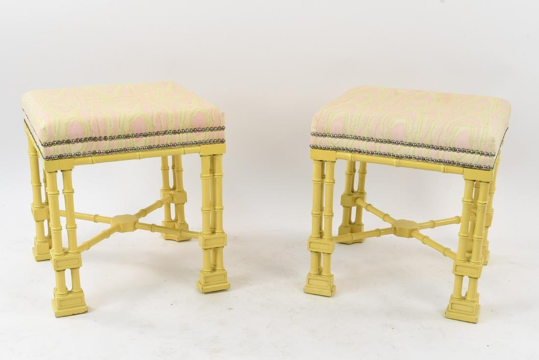 PAIR OF FAUX BAMBOO REGENCY STYLE STOOLS / BENCHES