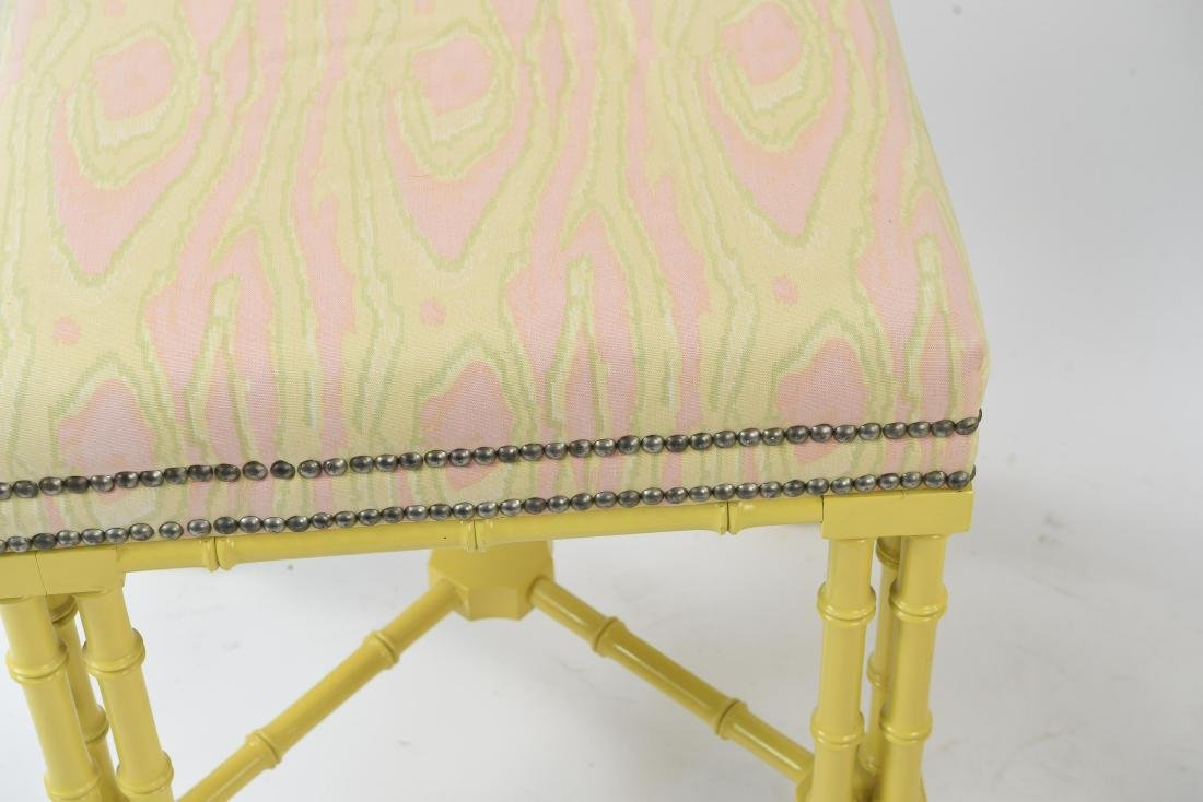 PAIR OF FAUX BAMBOO REGENCY STYLE STOOLS / BENCHES - 3