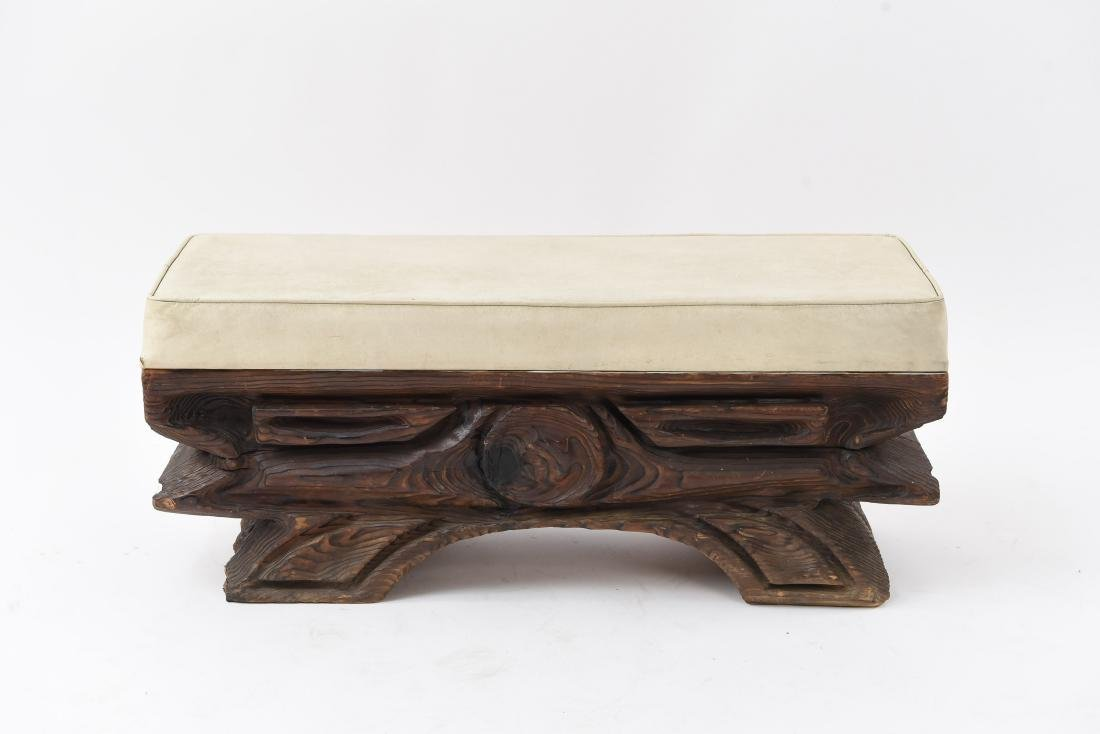 MID-CENTURY WITCO TIKI CARVED WOODEN BENCH