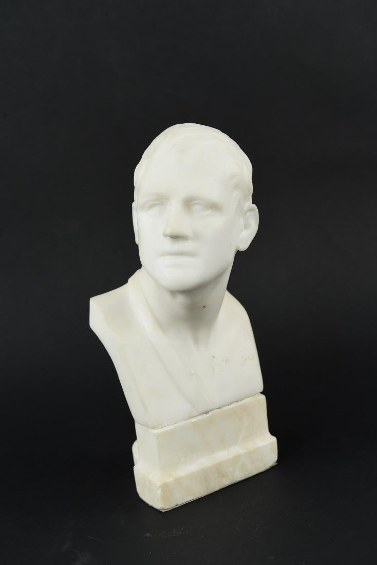 CARVED MARBLE MALE BUST SCULPTURE