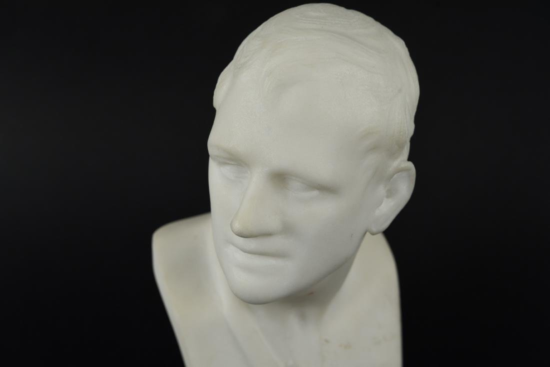 CARVED MARBLE MALE BUST SCULPTURE - 2