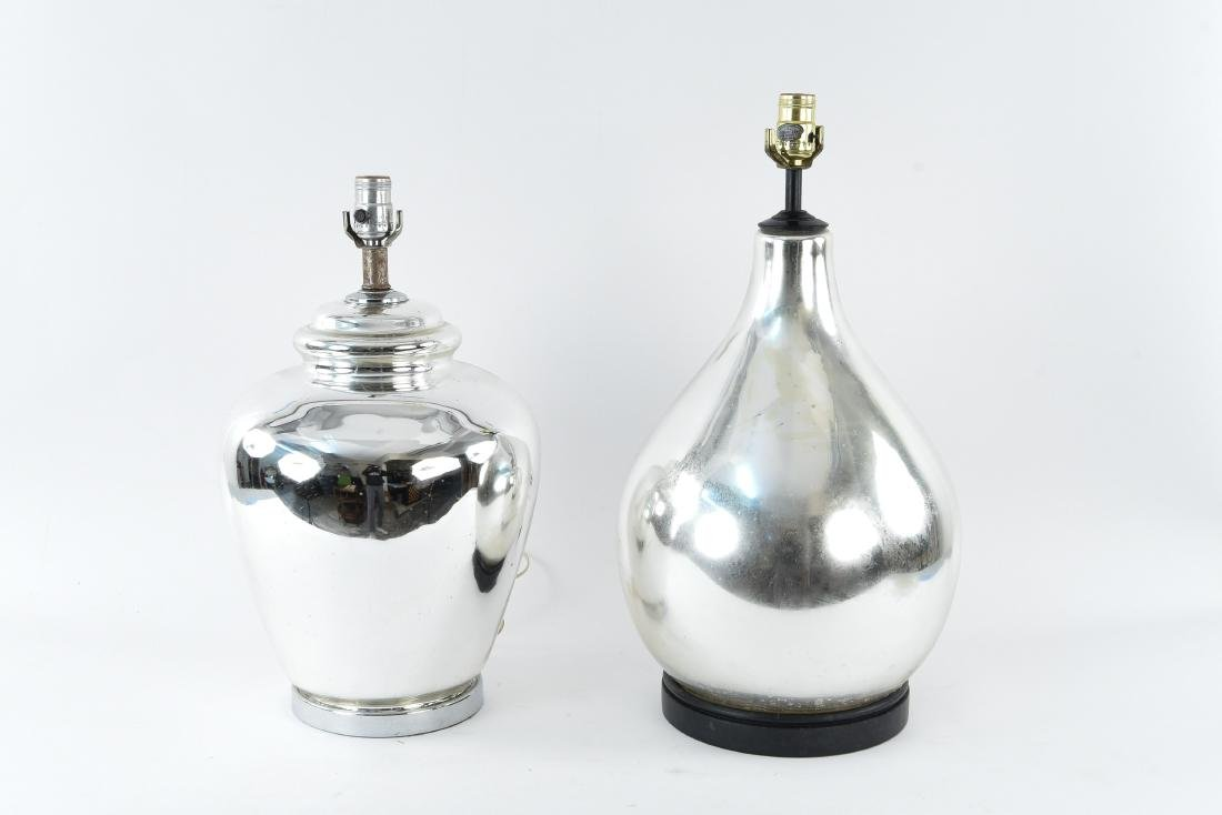 (2) MERCURY GLASS AND CHROME LAMPS