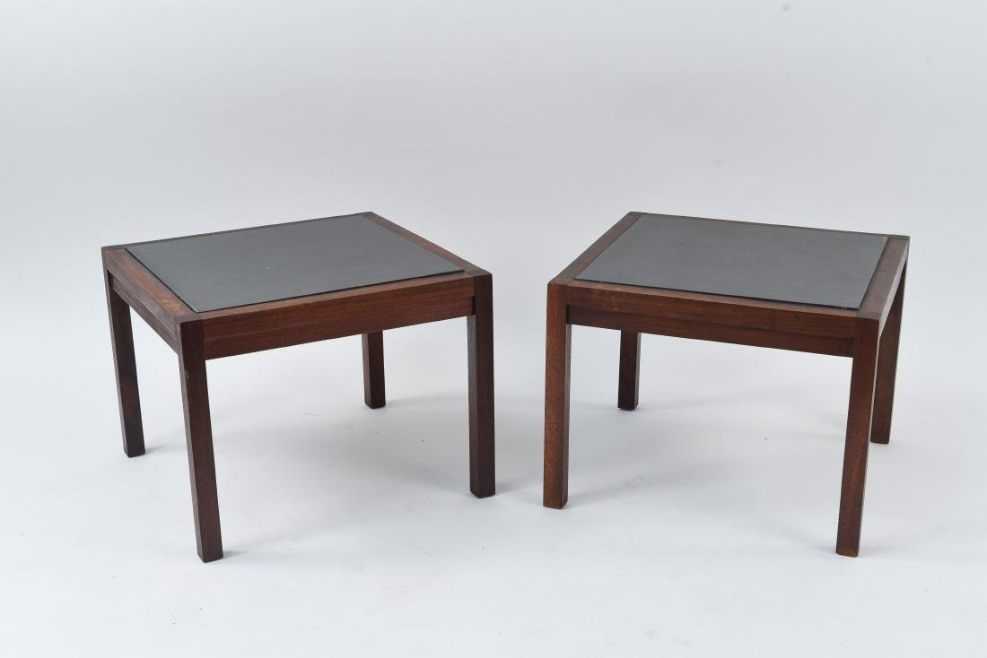 MID-CENTURY SLATE TOP END TABLES